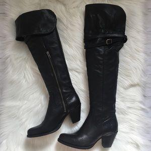 FRYE Sarah OTK Black Pebbled Leather BOOTS 8
